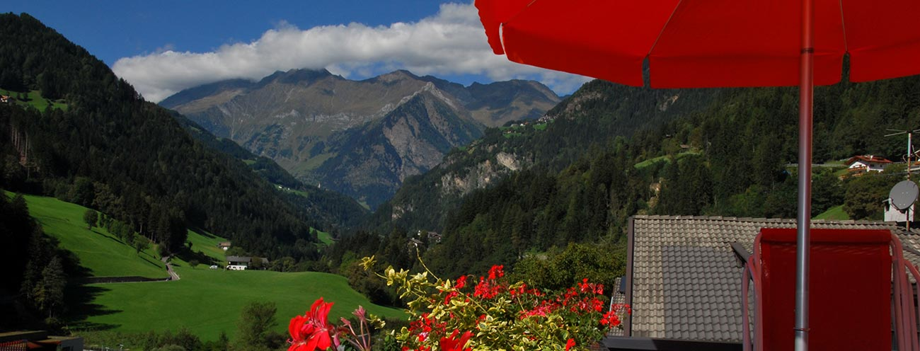View of the Passeier Valley from the terrace of the Pichler