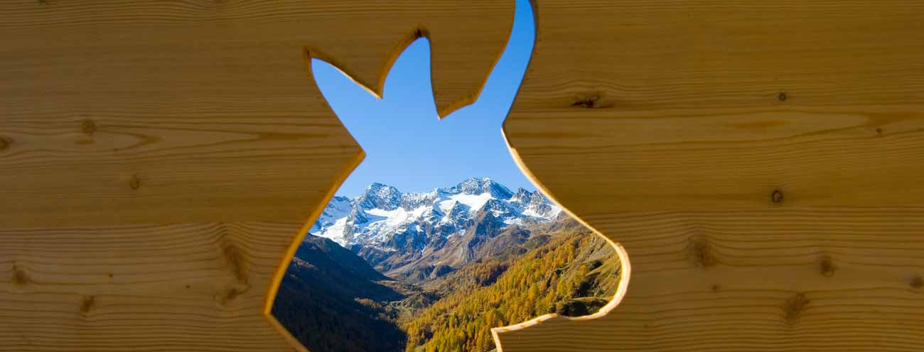 Hole in a wooden wall with the shape of a goat and mountain views of the Passeiertal
