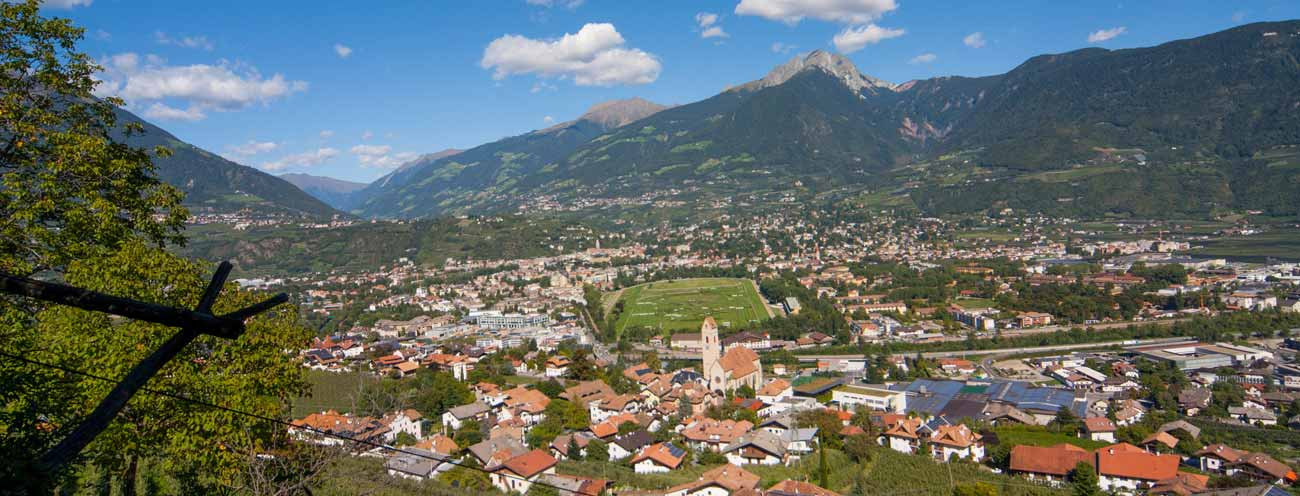 View of Merano on a nearly cloudless day in summer