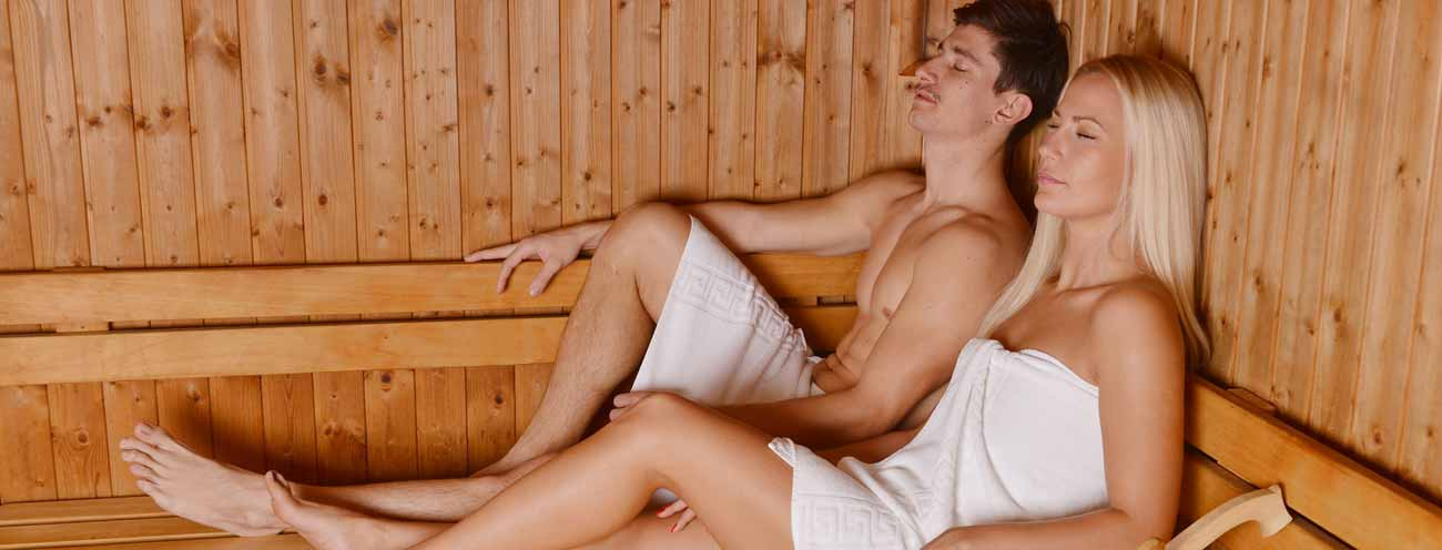 Couple while resting and enjoying the sauna from Residence Königsrainer